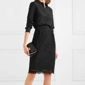J.CREW Black Pintucked Lace Pencil Skirt Cocktail
